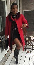 Designer full length boucle Red wool & Sable brown mink trim fur Dress Coat S -6