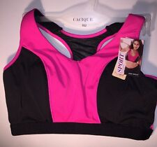 Cacique Sport Bra Lane Bryant Racerback Black Pink 36D High Impact No Wires
