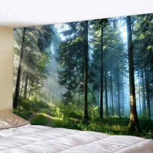 Forest Tapestry Printed Large Beautiful Wall Hanging Cloth Nature Tree Poster HQ