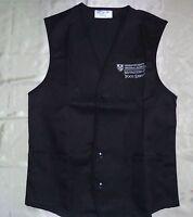 Unisex Vest Food Service Black Uniform Apron EMB Massachusetts Sz S to 2X
