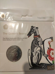 2021 RoyalMint Queens Beasts Greyhound of Richmond £5 coin.