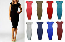 Women Ladies Plain Jersey Stretch Crew Neck Bodycon Cap Sleeve Midi Dress 8-26