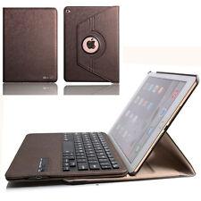 360° Ipad 4 IPad 3 2 PU Leder Case Cover Hülle Bluetooth Tastatur Qwertz Braun