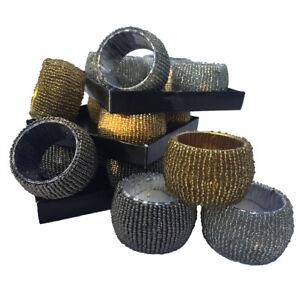 Serviettenring 4er Set anthrazit gold oder silber Serviettenringe Glasperlen