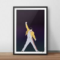 Freddie Mercury INSPIRED WALL ART Print / Poster Minimal A4 A3 QUEEN Yellow