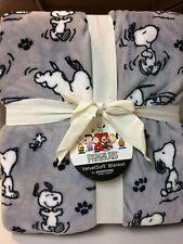 "Peanuts Snoopy and Woodstock Twin Fleece Blanket 60"" x 90"" Berkshire Gray"
