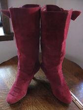 Vintage Women's Nine West Boots Costume 80s Burgandy Suede Heel 8 M Brazil as is