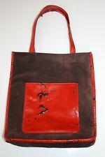 1990s Vintage LONGCHAMP Handbag Brown Suede Red Patent Leather Damage Purse/Tote