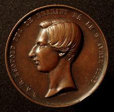 Belgique, grande médaille bronze 1853, V. Dubois, 18. anniversaire Léopold II, R!