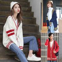 Korean Women Knit Cardigan Sweater Loose Tunic Casual Coat Outwear Jacket Winter
