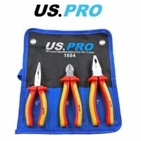US PRO 3 Piece Electricians Insulated VDE Pliers & Cutter Set 1684