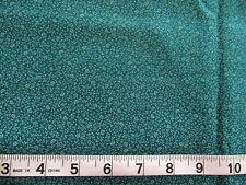 2/3 yd Cotton Fabric Dark Greenish Turquioise w/ Lighter Flowers & Leaves