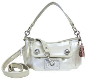 New Coach Poppy Groovy Sequined Crossbody Shoulder Purse Opal White RARE NWT !