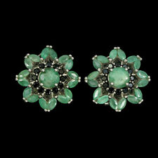 Sterling Silver Earrings Green Emerald and Black Spinel Genuine Natural Gems