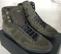 700$ Saint Laurent Dark Green Suede High Tops Sneakers size US 16, Made in Italy