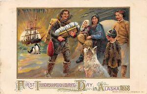 H30/ Thanksgiving  Postcard Greetings John Winsch Signed Pilgrims 1