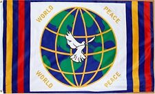 3x5 World Peace Globe Dove All Races Religions 100D Flag 3'x5' Brass Grommets