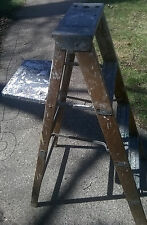 Vtg WOOD LADDER 3 Step Barn Country primitive Stool display shelf Shabby Decor