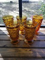Lot Of 5 Indiana Colony Amber Glasses Whitehall Cubist Footed Tumbler 6""