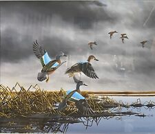 Excellent Blue Wing Teal Duck Decoy Painting by H. Kilpatrick, Signed, Framed