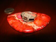 Beautiful Vintage Sterling Silver & Marcasite Ring.925 Sz-6.5