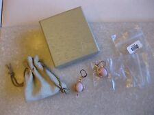 Pink Opal Sterling Vermeil Pierced Earrings Lever Back /Signed NOA / In Orig Box