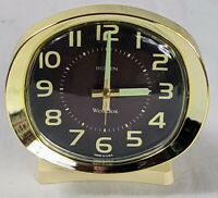 Westclox Big Ben Style 9 Luminous Wind Up Alarm Clock Brown & Gold *Serviced 4/8