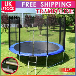 12 FT TRAMPOLINE WITH SAFETY NET ENCLOSURE SPRING COVER PADDING LADDER UK STOCK