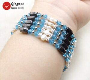 4-5mm White Pearl Bracelet for Women Jewelry with Light Blue Crystal & Hematite