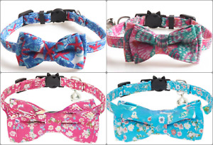 Cat Collar with Bell & Bow Tie - Luxury Collar   Safety Release Breakaway Buckle