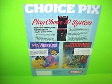 Nintendo PLAY CHOICE 10 Goonies Pro Wrestling Original Video Arcade Game Flyer