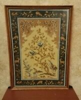 """Completed Needlepoint Tapestry Medieval Renaissance Style Vintage Framed 22"""""""