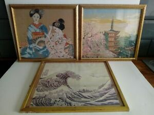 Three Vintage Japanese Embroidery Pictures. Pre Owned.