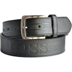 Black Genuine Leather 4cm Wide Men's BOSS Jeans Belt RRP $39.95