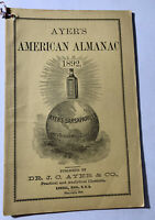USED ANTIQUE ALMANAC BLOWOUT: Ayer's American Almanac 1892  RARE
