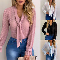 Womens Ladies Lace Chiffon Tops Tie Long Sleeve T-Shirt Plus Size Blouse V Neck