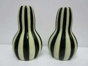 Rare Pair of Art Deco 1920s German Bauhaus Velten Vordamm Striped Ceramic Vases