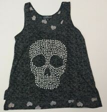 Almost Famous skull and hearts black tank top metal embellishments medium