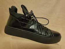 Asher Green Men Shoes Black Leather High Top Croc Print Fashion Sneakers Sz 9.5