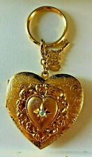 """Kirks Folly """"HEART LOCKET KEYRING"""" Gold Locket with 2 Picture Inserts Brand New"""