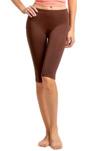 MOPAS Basic Solid Biker Knee Length Shorts Spandex Yoga Leggings One Size, Brown