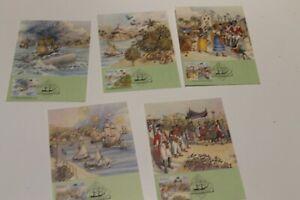 1987 THE FIRST FLEET RIO DE JANEIRO STAMP  MAXI CARDS SET OF 5