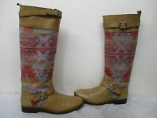 Candela Asher Wool Tan Leather Knee High Riding Boots Womens Size 8.5