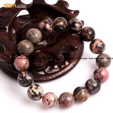"Natural Round Gemstone Rhodonite Beads Stretch Bracelet 7"" Valentine's Day Gift"
