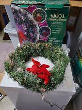 "Vintage Magical Christmas Wreath 24"" Fiber optic Christmas Wreath TESTED WORKING"