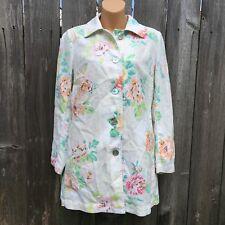 J. JILL Women's Sz XS Linen Cotton Blend Ivory Pastel Floral Jacket Long Pockets