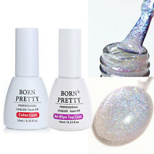 2pcs 10ml No-wipe Top Coat Gel & Holo Holographic Silber Soak Off UV Gel Polish