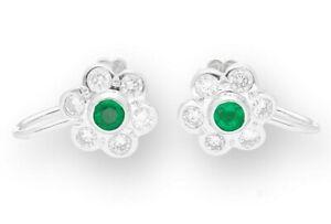Vintage 18Carat Yellow Gold Emerald & Diamond Daisy Cluster Earrings (10x10mm)