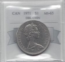 **1971**Coin Mart Graded, Canadian, Dollar, **MS-65**Double Chin