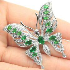 Long Big Heavy 16.5g Butterfly Shape Green Emerald Tourmaline CZ Silver Brooch